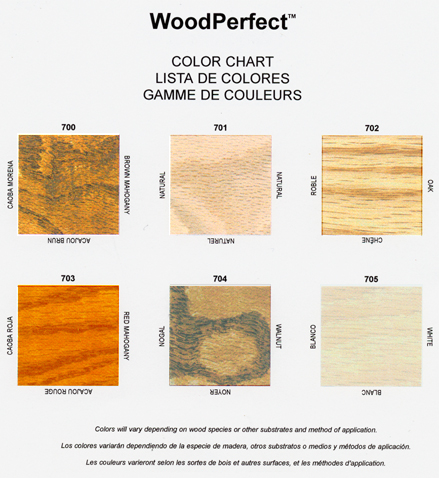 Woodperfect Color Chart